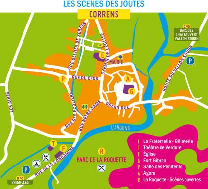 Plan du festival des Joutes Musicales de Printemps, à Correns (Var)