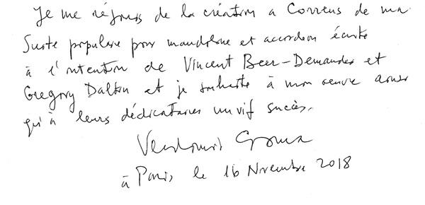 Message de Vladimir Cosma : Je me réjouis de la création à Correns de ma Suite populaire pour mandoline et accordéon écrite à l'intention de Vincent Beer-Demander et Grégory Daltin et je souhaite à mon œuvre ainsi qu'à leurs dédicataires un vif succès. - Vladimir Cosma, à Paris, le 16 Novembre 2018.