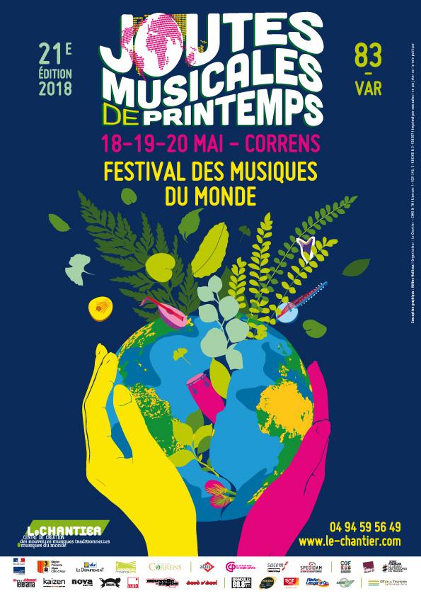 Affiche 21e Joutes musicales de printemps - festival des musiques du monde : 18-19-20 mai 2018 à Correns (83)