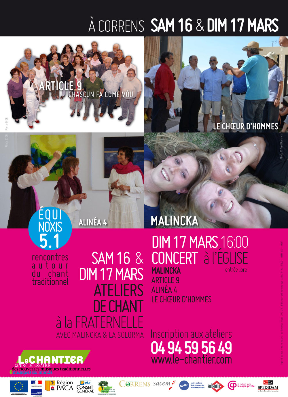 Equinòxis 5.1 : Rencontres autour du chant traditionnel. Article 9 invite Malincka - Sam 16 & Dim 17 mars 2013