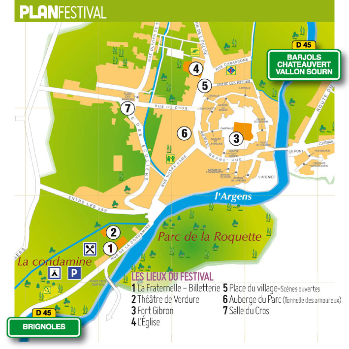 Plan du festival des Joutes Musicales de Printemps, &agrave; Correns (Var)
