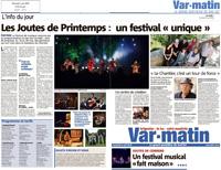 Var Matin, 4 mai 2018 - Les Joutes de Printemps : un festival unique !