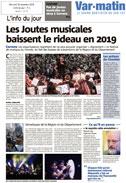 Article Var Matin - 29/11/2018 : «Les Joutes musicales baissent le rideau en 2019»